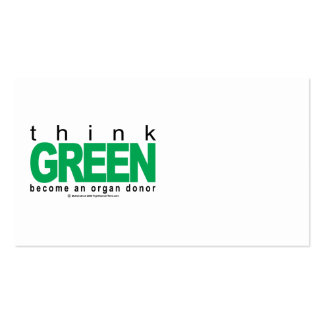 Organ Donor THINK Green Double-Sided Standard Business Cards (Pack Of 100)