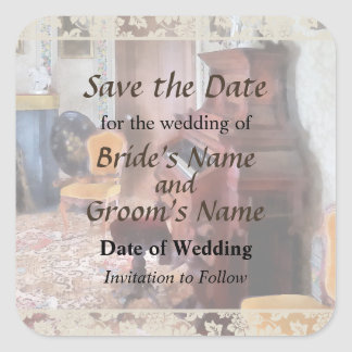 Organ in Victorian Parlor Save the Date Square Stickers
