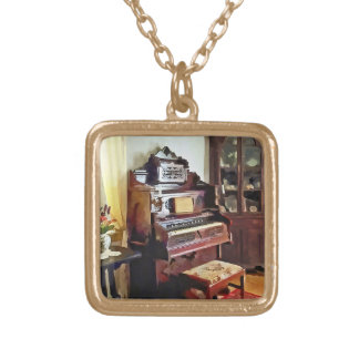 Organ in Victorian Parlor With Vase Gold Plated Necklace