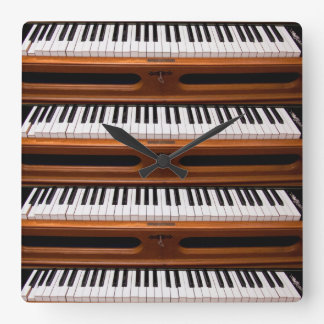 Organ keyboard square wall clocks