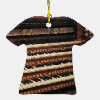 Organ Keyboard Double-Sided T-Shirt Ceramic Christmas Ornament