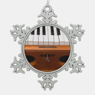 Organ keyboard snowflake pewter christmas ornament