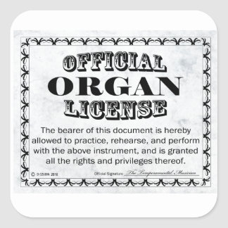 Organ License Square Sticker