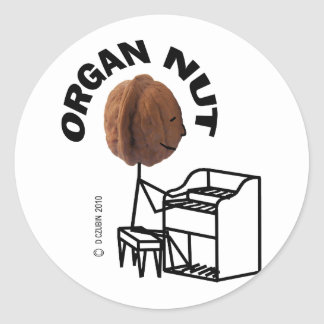 Organ Nut Classic Round Sticker