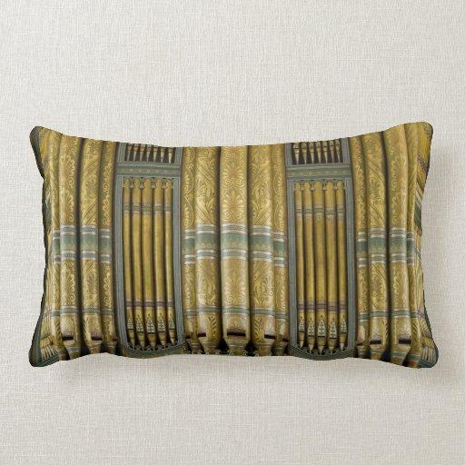 Organ pipes in green and gold lumbar pillow