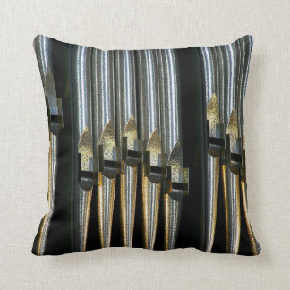 Organ pipes in spotted silver throw pillow