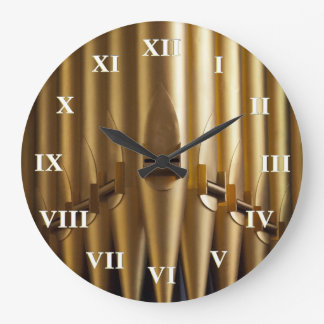 Organ pipes round clock - roman numerals