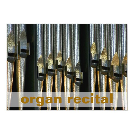 Organ recital invite - metal pipes