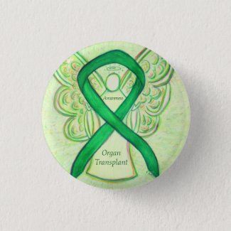 Organ Transplant Awareness Ribbon Angel Buttons