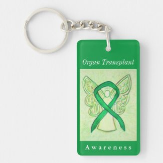 Organ Transplant Awareness Ribbon Angel Keychain
