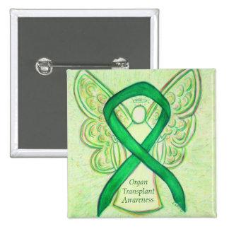 Organ Transplant Green Awareness Ribbon Angel Pins