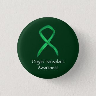 Organ Transplant Green Awareness Ribbon Custom Pin