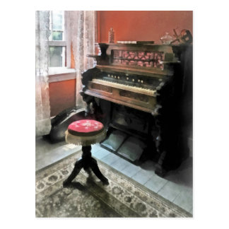 Organ With Petit Point Stool Post Card