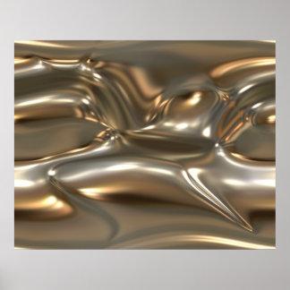 Organic Art Molten Metal Sheet Gold And Silver Print