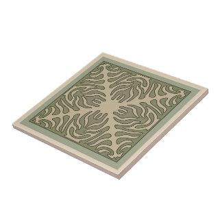 Organic Arts & Crafts Outlined Design Variation 1 Ceramic Tile