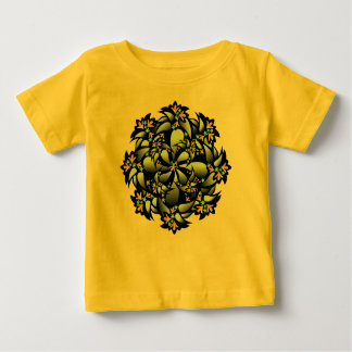 Organic Baby Outfit, Cute Flower, Yellow Blue Grey T-shirts