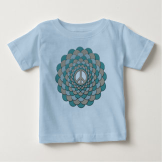 Organic Baby Outfit, Peace Flower, Blue Tan Tee Shirt