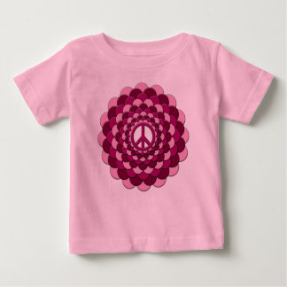 Organic Baby Outfit, Peace Flower, Pink Tshirt