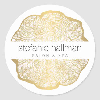 Organic Beauty Gold Tree Rings Classic Round Sticker