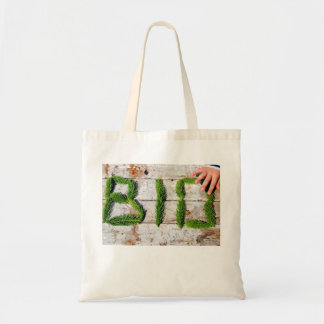 Organic & biological mark with child hand tote bag