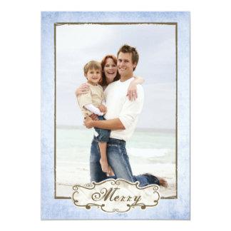 Organic Blue Grunge Double Sided Photo Holiday Card