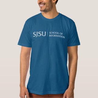 Organic Blue Men's T-shirt - White iSchool Logo