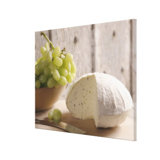 organic cheese on board canvas print