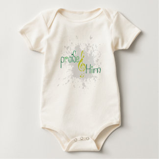 Organic Christian baby vest - Praise Him Baby Creeper