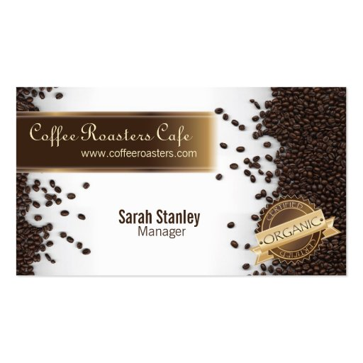 Organic Coffee House Cafe Restaurant Business Card (front side)