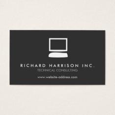 Organic Computer Logo White/gray Business Card at Zazzle