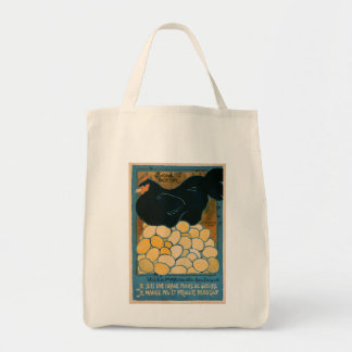 Organic Cotton Tote: Vintage Laying Hen Tote Bag