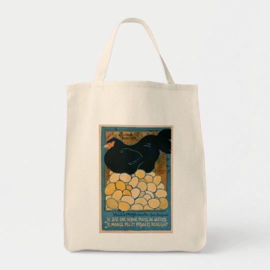 Organic Cotton Tote: Vintage Laying Hen Tote Bag