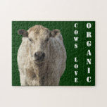 Organic Cows - White Charolais Cattle - Western Jigsaw Puzzles