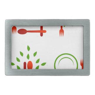 organic cuisine rectangular belt buckle