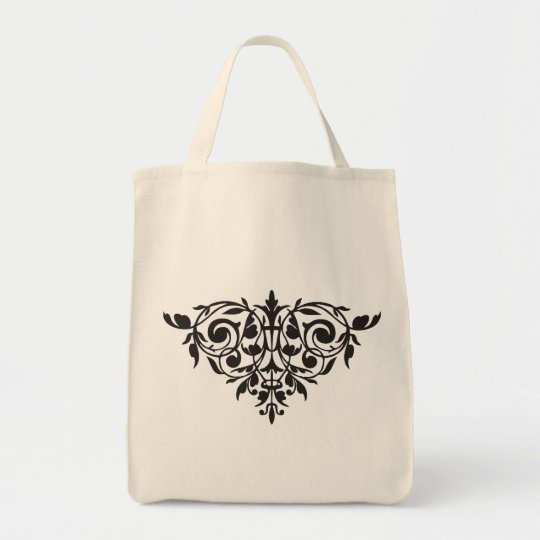 Organic customizable silhouette damask totebag tote bag