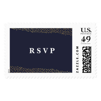 Organic dots faux foil RSVP postage stamp
