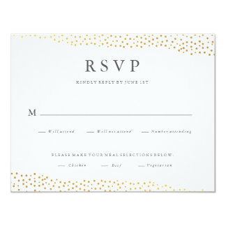 Organic dots faux foil wedding response rsvp card