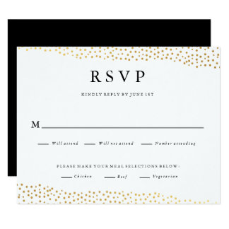 Organic dots faux foil wedding response rsvp card