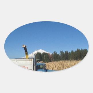 Organic Farm Harvest Oval Sticker