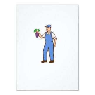 Organic Farmer Boy Grapes Standing Retro Card