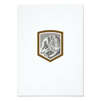 Organic Farmer Cultivating Vegetables Shield 4.5x6.25 Paper Invitation Card