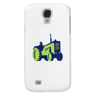 Organic Farmer Driving Vintage Farm Tractor Samsung Galaxy S4 Cover