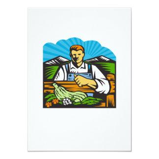 Organic Farmer Farm Produce Harvest Retro 4.5x6.25 Paper Invitation Card