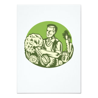 Organic Farmer Green Grocer Vegetable Retro 4.5x6.25 Paper Invitation Card