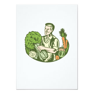 Organic Farmer Green Grocer With Vegetables Retro 4.5x6.25 Paper Invitation Card