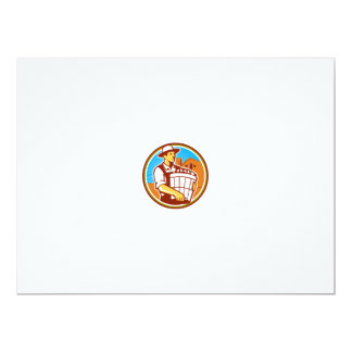Organic Farmer Harvest Basket Circle Retro Card