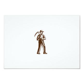 Organic Farmer Holding Scythe Woodcut Card