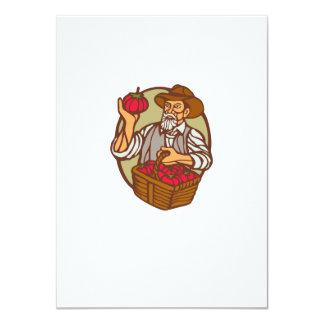 Organic Farmer Tomato Basket Woodcut Linocut 4.5x6.25 Paper Invitation Card