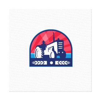 Organic Farmer Tractor Wheat Crest Retro Canvas Print