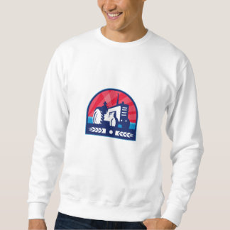 Organic Farmer Tractor Wheat Crest Retro Sweatshirt